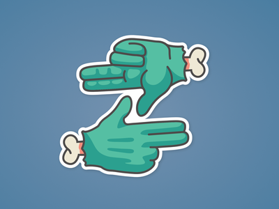 Gang Sign graphic sticker cult zombie sign gang hands