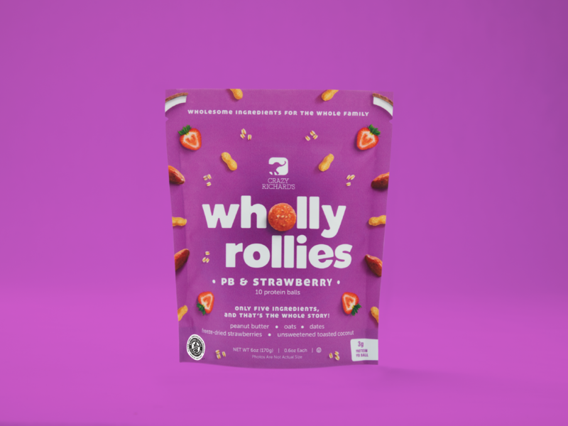 Wholly Rollies (PB & Strawberry) frozen freezer pouch bag brand logo oats coconut dates strawberry fruit purple protein ball color photography packaging peanut butter healthy snack