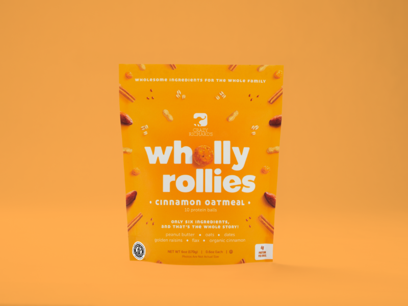 Wholly Rollies (Cinnamon Oatmeal) photography design brand logo freezer frozen raisin golden dates oats protein ball bag packaging pouch peanut butter oatmeal cinnamon snack healthy