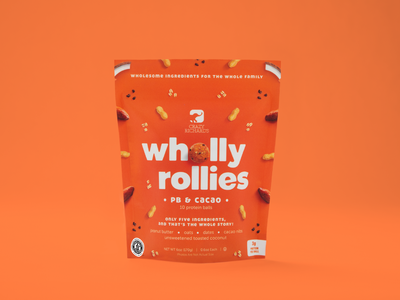 Wholly Rollies (PB & Cacao) healthy food food packaging design oats coconut dates protein ball bag pouch photography brand logo freezer frozen cacao peanut butter snack healthy