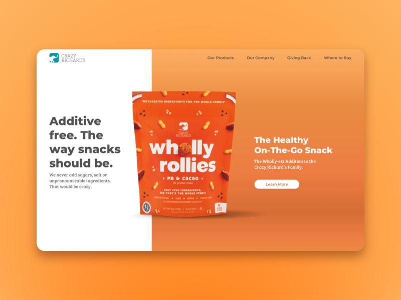 Crazy Richard's Website Homepage interactive website concept ux ui logo snack healthy ball protein scrolling montserrat brand food colorf website homepage design
