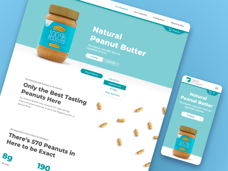 Crazy Richard's Product Pages crunchy creamy peanuts butter peanut concept website design nutrition shop ecommerce ux ui webiste snack food healthy product