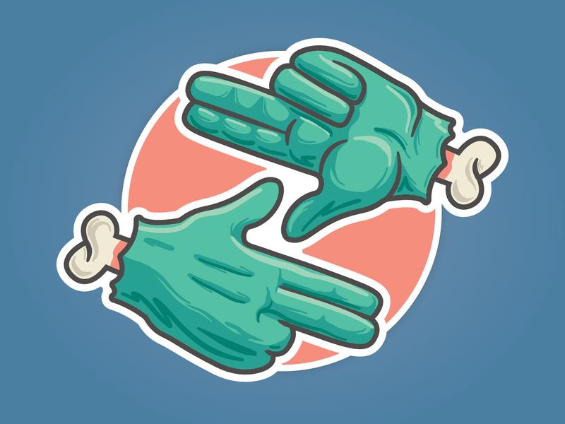 ZoCo Design Gang Sign hands spot illustration vector logo badge zombie z sign gang