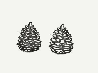 Pine Cone Prints ink pine tree tree distressing block linoleum print ideation progress pine cone