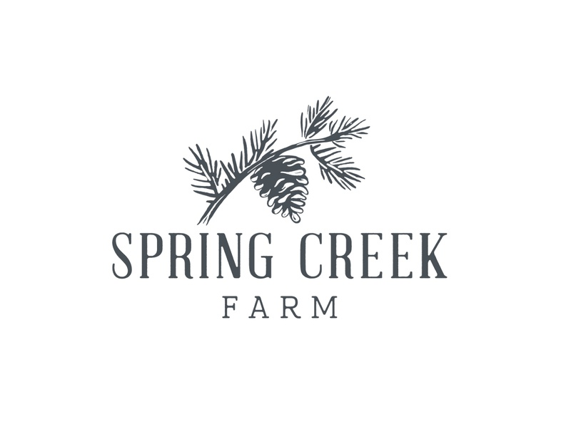 Spring Creek Farm Logo heritage vintage identity brand branch tree spring creek farm organic block print print block wood needles cone pinecone pine custom type logo