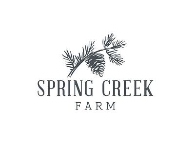 Spring Creek Farm Logo heritage vintage identity brand branch tree spring creek farm organic block print print block wood needles cone pinecone pine custom type logo