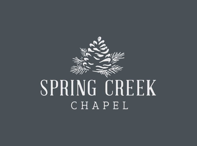 Spring Creek Chapel Logo ink heritage vintage identity brand spring creek wedding chapel organic block print print block wood needles cone pinecone pine custom type logo