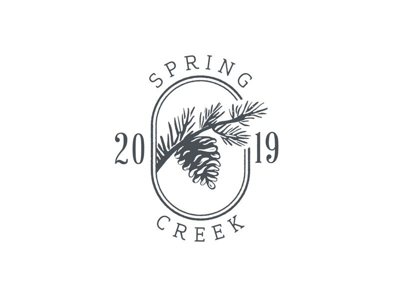 Spring Creek Seal invitation wedding elegant logo brand identity mark rubber stamp stamp custom typeface pine cone branch ink block print 2019 year seal farm chapel creek spring