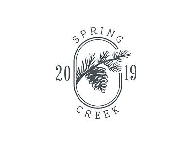 Spring Creek Seal invitation wedding elegant logo brand identity mark rubber stamp stamp custom typeface pine cone branch ink block print 2019 year seal farm chapel creek spring