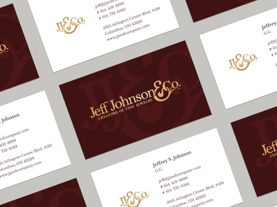 Jeff Johnson & Company Business Cards paper vector typography jewelry ampersand elegant apothecary logo monogram branding gold foil card business card business card design