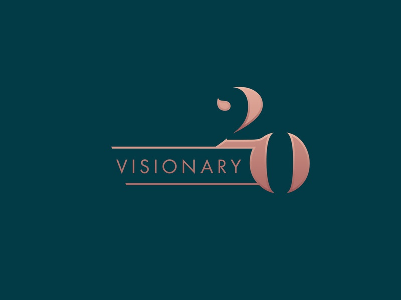Visionary Gala 20th Anniversary Logo rose strong feminine business women sans serif serif design font elegant monogram gold green teal logo brand gala awards 20 visionary