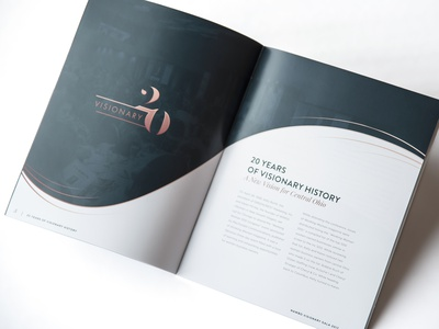 Visionary Awards Book program rose gold green typography shadow offset photo magazine layout sans serif serif elegant branding logo print book spread awards visionary