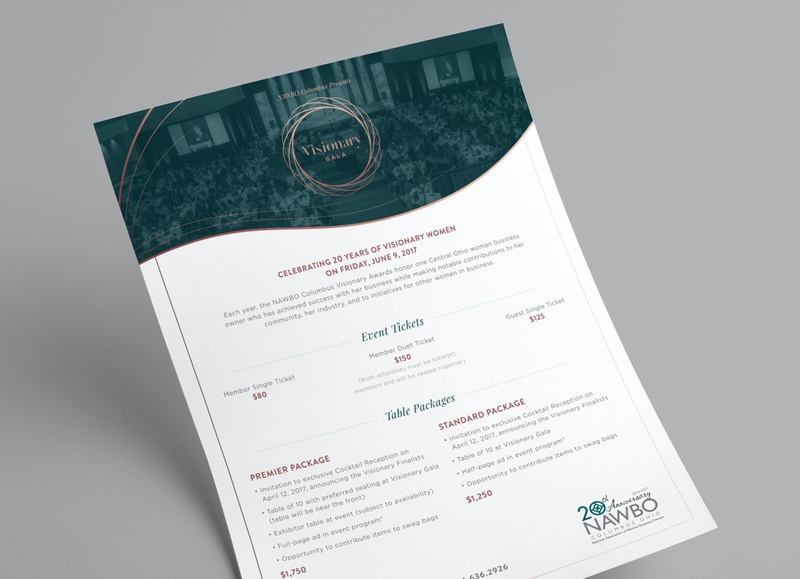 Visionary Awards Gala Sales Sheet sales page typography layout tickets awards elegant application brand logo event branding gold teal green event mockup stationary paper sheet sales