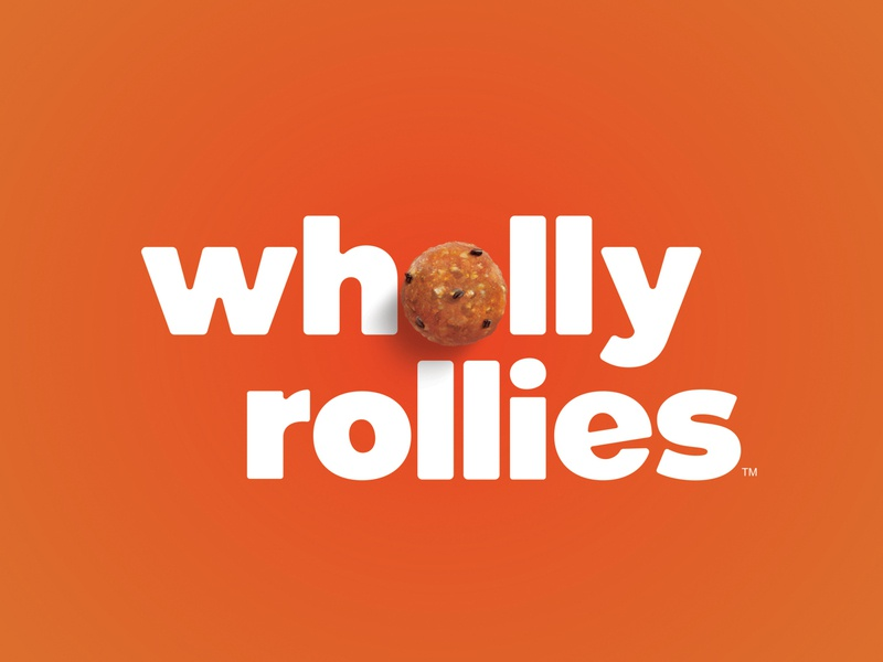 Wholly Rollies Brand Identity dates oats family lowercase friendly sans serif yellow purple orange photo customtype custom typeface peanut butter cookie ball snack food logo brand