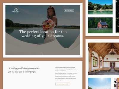 Spring Creek Website brand photograhy nature serif design ux ui groom bride natural forest lake church engagement elegant website chapel wedding creek spring