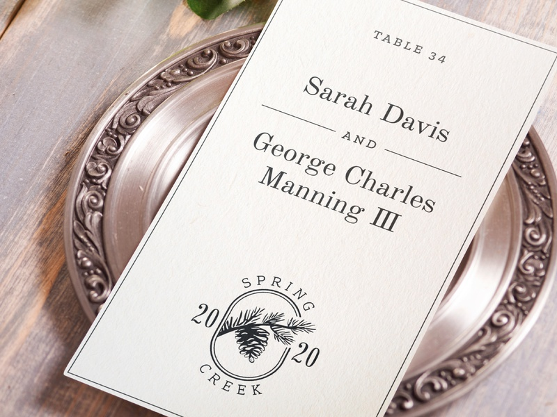 Spring Creek Invitation namecard letter invitation ink card engagement elegant branding logo monogram typography paper 2020 serif print setting table wedding invite