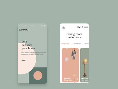 Home decorate app design template user experience user interface design ui ux vector dribbble adobe illustrator typography design