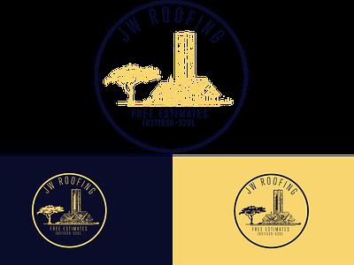 Roofing Logo design logo branding illustration navy landscape ohio roofing roofing logo whimsical whimsical roofing logo