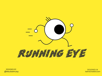 Running EYE illustration eyes running game character saimscreation eye care eye logo eyeball eye running app running design vector illustration flat design