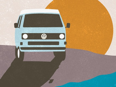 Roadtrip van vw bus vector art grainy vintage illustration art illustrator vector illustration sunset roadtrip vw van vw