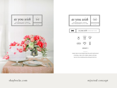 As You Wish: Early Concept wedding minimal clean logo branding concept