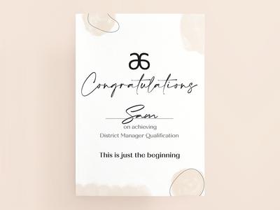 Arbonne Congratulations Certificate