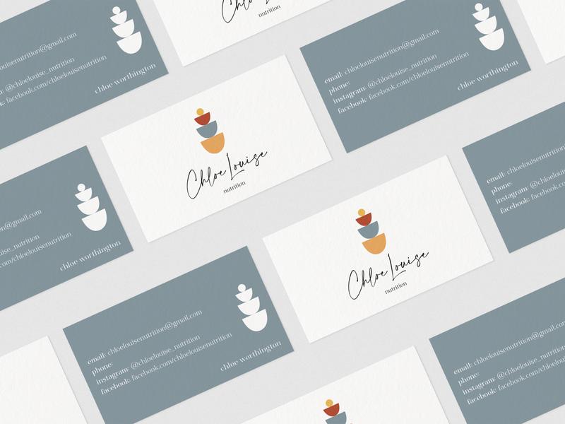 Chloe Louise Nutrition Business Cards businesscarddesign businesscard business business card design business cards business card logos logo design minimal logo color branding design