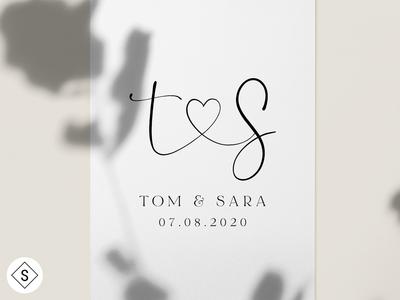 Tom & Sara Wedding Logo website web design web logos logo design minimal logo color branding design