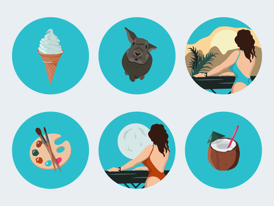 Icons for Instagram Highlight Stories coctail coconut moon drawing art egypt summer bunny rabbit icecream instagram stories highlights instagram stories flat illustration flat illustraion illustrator icon set icons