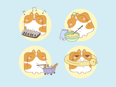 Cute Stickers | Part 2 swimming food cooking music shopping character stickers funny character funny illustration funny cute illustration cute animals cute animal cute art cute cats cat art illustration illustrator