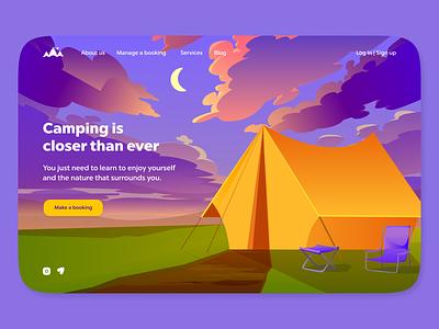 Camping is closer than ever! flat illustration flat 2d graphic design design branding logo uiux art ux ui illustrator illustration