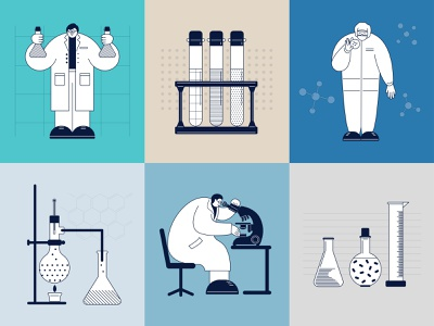 Science laboratory set researcher laboratory chemicals science flat design vector minimal illustration character