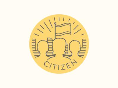 Citizen woman man citizen lines city flag illustration