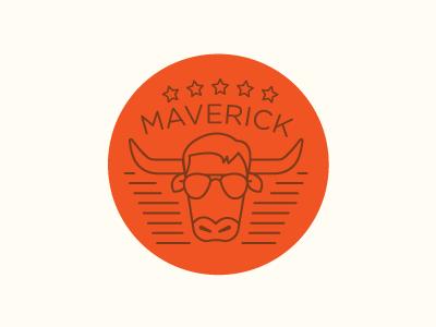 Maverick top gun horns sunglasses shades stripes stars maverick cow line illustration