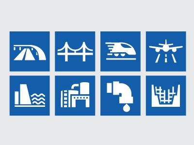 Construction Market Icons underground pipe industrial water dam airplane airport train rail bridges roads