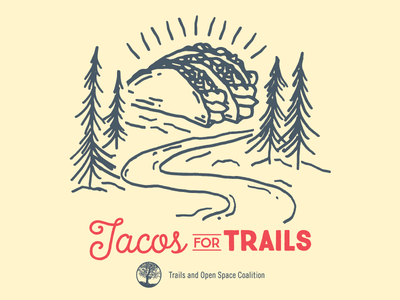 Tacos For Trails red hand drawn taco community trees trails