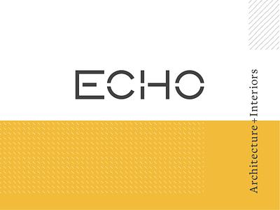 Echo Architecture + Interiors white grey serif pattern yellow stencil