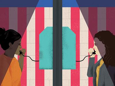 Bridging The Divide Illustration student immigrant phones bricks translation flag detainee illustration immigration dead design
