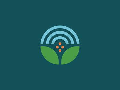 Fresh Start Center Logomark non profit homeless farm logo orange blue green cross rainbow sky growth leaves
