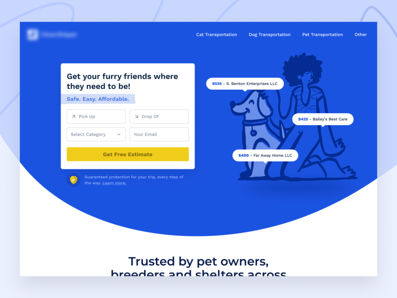 Pet Shipping Hero V2 website design website web design ui shipping pets pet hero header form cta clean