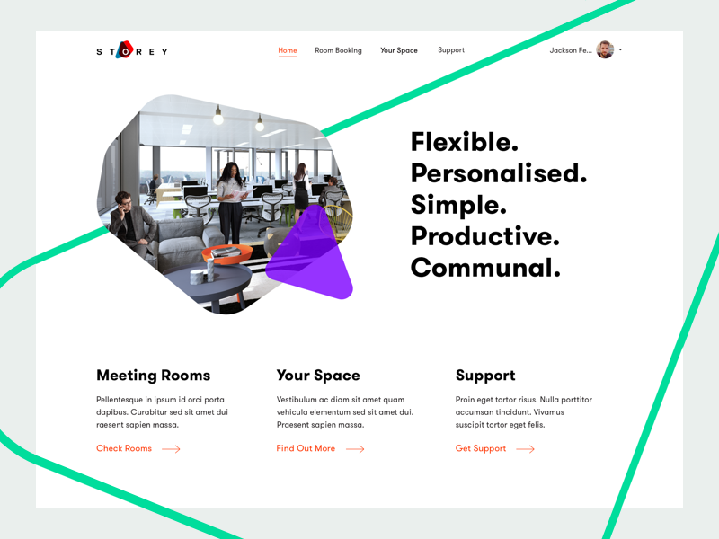 Flexible workspace  dashboard ui coworking london  interface flat user interface