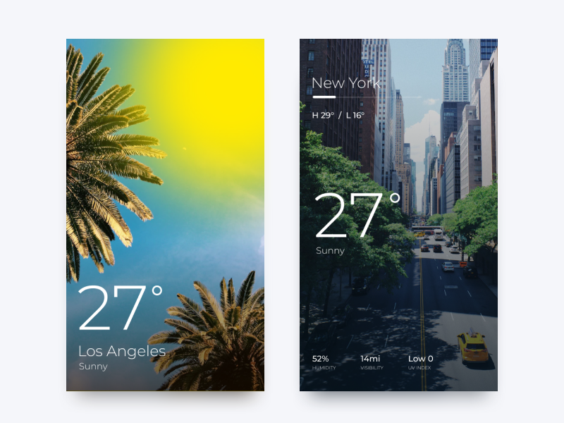 Weather App Challenge weather ui new york los angeles dailyui daily challenge app