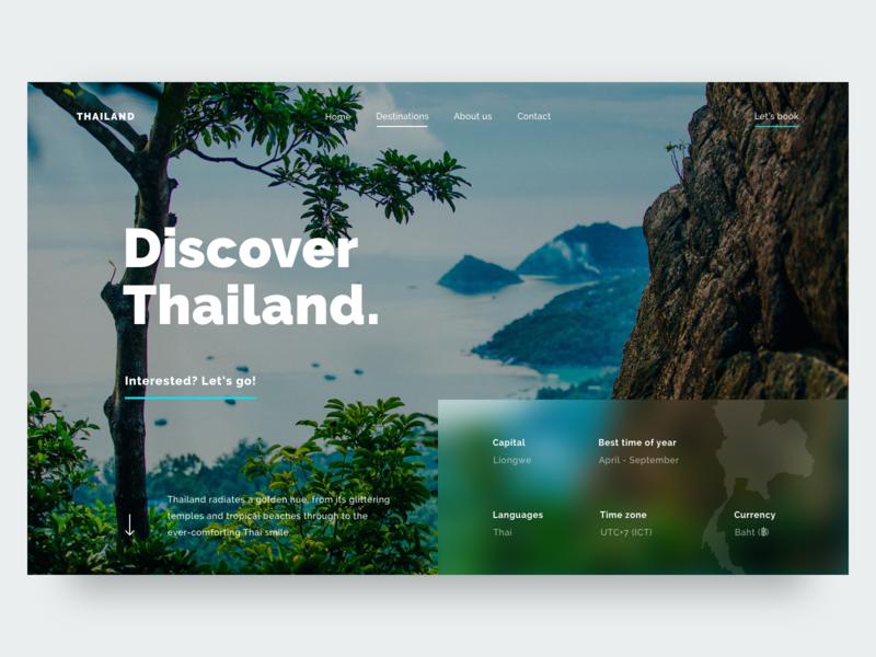 Discover Malawi layout web typography minimal clean ux ui travel hero detailpage destination design