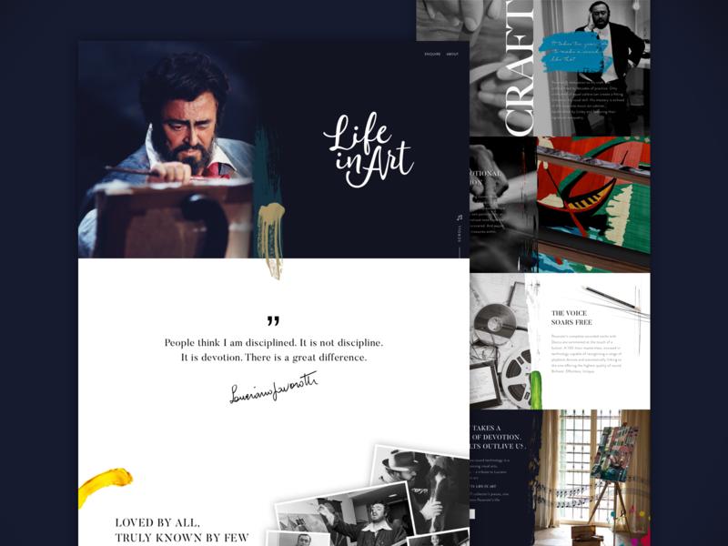 Life In Art homepage design layout clean ux web illustration typography website minimal ui