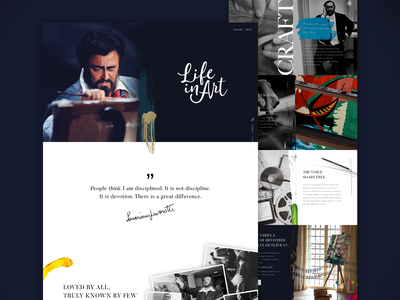 Life In Art homepage design layout clean ux web illustration typography website minimal ui