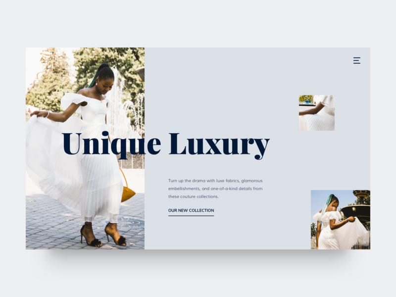 Unique Luxury hero area fashion web ux design homepage layout interface typography website flat minimal clean ui