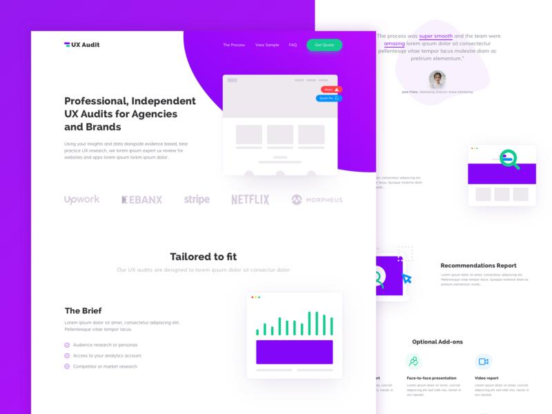 UX Audit layout flat illustration homepage ux web clean interface design typography website minimal ui