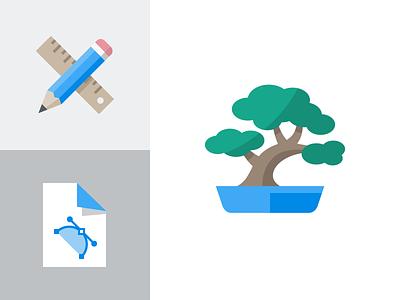 Bonsai icon eps ai svg extension file flat format vector ruler pencil bonsai icon