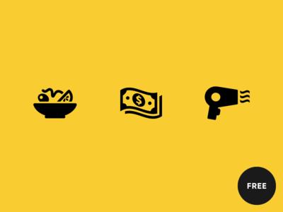 60 Free Icons in Raw style free hairdryer salad money icon design icon set icon sets free icons