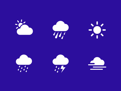 Weather icons Transavia Airlines custom icons custom icon design lightning fog rain sun cloud transavia icon design icon icons weather
